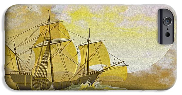 Pirate Ship iPhone Cases - A Day at Sea iPhone Case by Cheryl Young