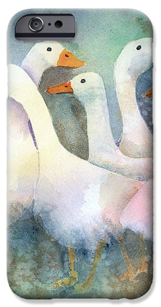 A Disorderly Group Of Geese iPhone Case by Arline Wagner