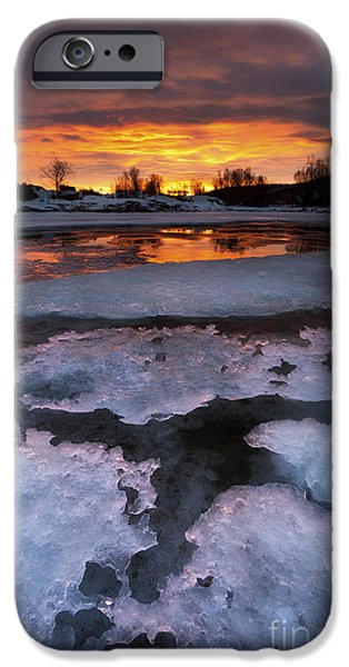 Landscape In Norway iPhone Cases - A Fiery Sunrise Over Lavangsfjord iPhone Case by Arild Heitmann