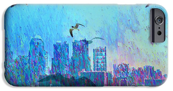 Flying Seagull Digital Art iPhone Cases - A Flock of Seagulls iPhone Case by Bill Cannon