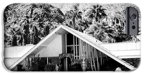 White Frame House iPhone Cases - A FRAME BW Palm Springs iPhone Case by William Dey