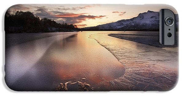 Sunset In Norway iPhone Cases - A Frozen Straumen Lake On Tjeldoya iPhone Case by Arild Heitmann