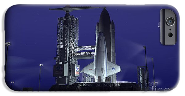 Terrene iPhone Cases - A Futuristic Space Shuttle Awaits iPhone Case by Walter Myers