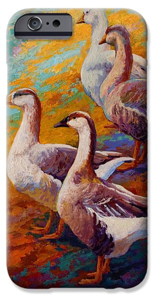 Hens iPhone Cases - A Gaggle Of Four - Geese iPhone Case by Marion Rose