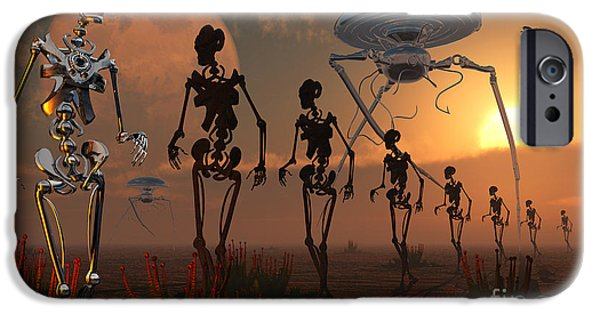 Built Structure Digital Art iPhone Cases - A Ghostly Robotic Army Is On The Move iPhone Case by Mark Stevenson