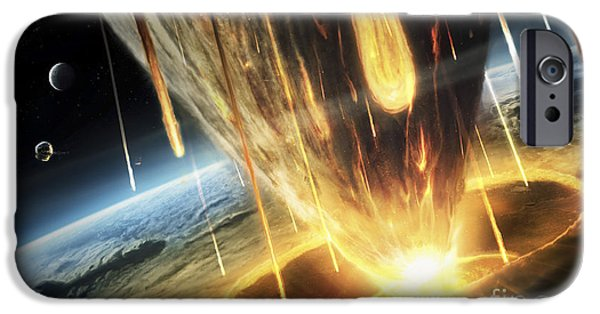 Destiny Digital iPhone Cases - A Giant Asteroid Collides iPhone Case by Tobias Roetsch