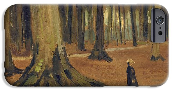 Tree Roots Paintings iPhone Cases - A Girl in a Wood iPhone Case by Vincent van Gogh