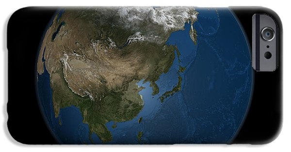 Terrestrial Sphere iPhone Cases - A Global View Over Asia With Arctic Sea iPhone Case by Stocktrek Images