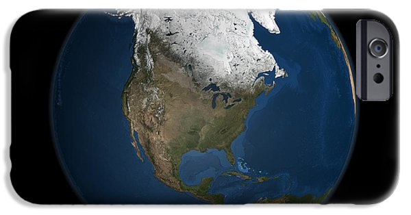 Terrestrial Sphere iPhone Cases - A Global View Over North America iPhone Case by Stocktrek Images