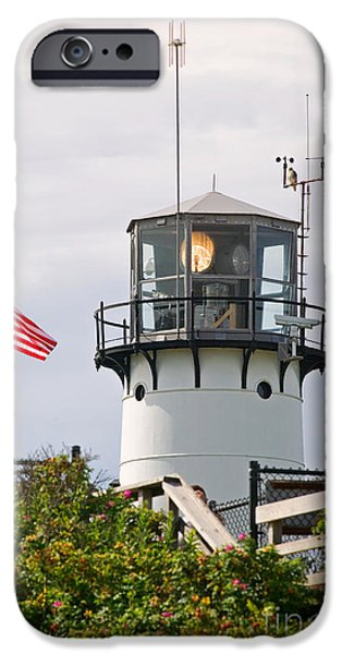 Chatham iPhone Cases - A hawk sits next to weather instruments on top of Chatham Lighth iPhone Case by Matt Suess