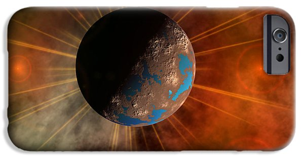 Terrestrial Sphere iPhone Cases - A Hypothetical Alien World With Oceans iPhone Case by Mark Stevenson