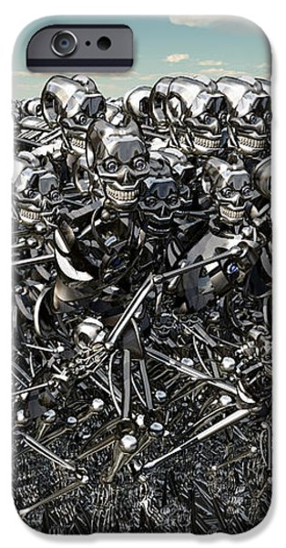 A Large Gathering Of Robots iPhone Case by Mark Stevenson
