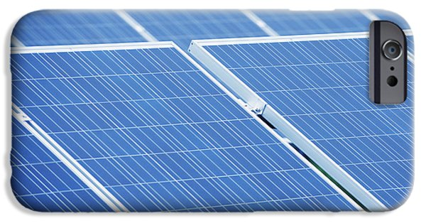 Power Industry iPhone Cases - A Large Group Of Solar Panels Tilted iPhone Case by Dave and Les Jacobs