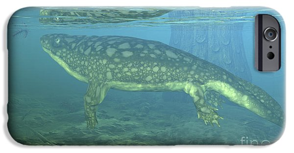 Rhacophorus iPhone Cases - A Late Devonian Period Ichthyostega iPhone Case by Walter Myers