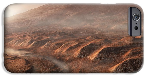 Mounds Digital iPhone Cases - A Light Fog Forms In A Desiccated Gully iPhone Case by Steven Hobbs