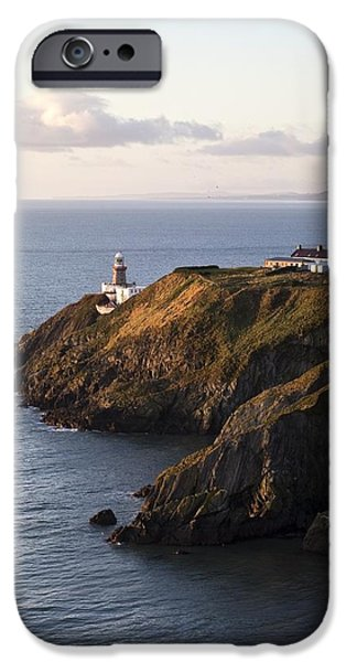 Head Harbour Lighthouse iPhone Cases - A Lighthouse On A Hill Ireland iPhone Case by Peter McCabe