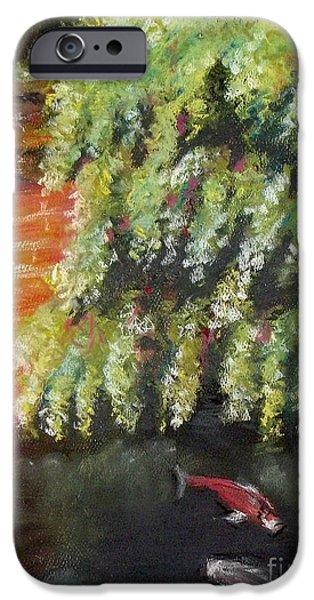 Botanical Pastels iPhone Cases - A Little Koi Pond iPhone Case by Yoshiko Mishina