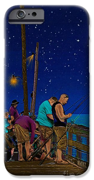 Night Lamp Drawings iPhone Cases - A Little Night Fishing at the Rodanthe Pier iPhone Case by Anne Kitzman