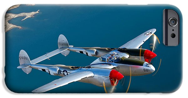 Shoulders iPhone Cases - A Lockheed P-38 Lightning Fighter iPhone Case by Scott Germain