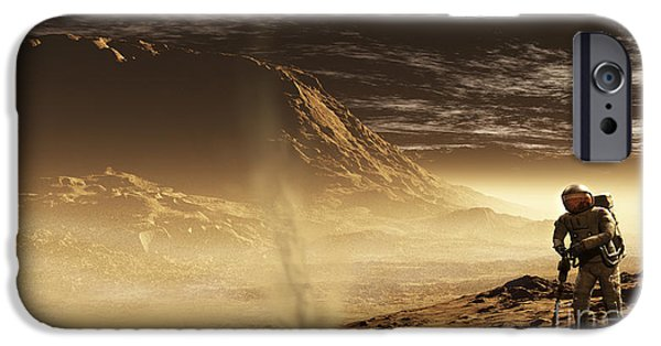 Mounds Digital iPhone Cases - A Lone Astronaut Drills iPhone Case by Steven Hobbs