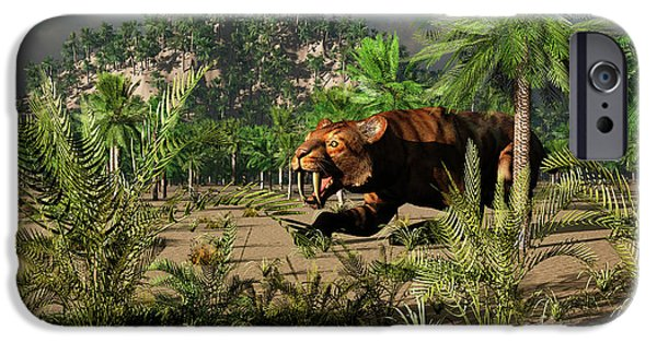 The Tiger iPhone Cases - A Lone Carnivorous Sabre-toothed Tiger iPhone Case by Mark Stevenson