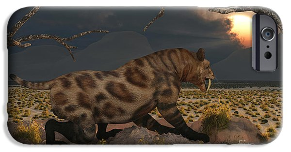 The Tiger iPhone Cases - A Lone Sabre Tooth Tiger Observes iPhone Case by Mark Stevenson
