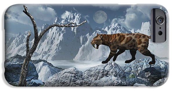The Tiger iPhone Cases - A Lone Sabre-toothed Tiger In A Cold iPhone Case by Mark Stevenson