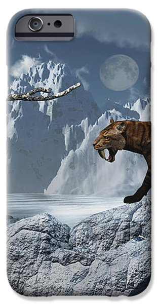 A Lone Sabre-toothed Tiger In A Cold iPhone Case by Mark Stevenson