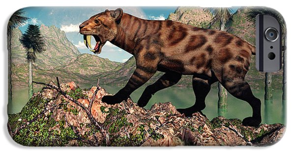 The Tiger iPhone Cases - A Lone Sabre-toothed Tiger iPhone Case by Mark Stevenson