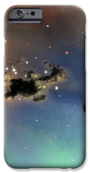 A Lonely Planet Is Lit By Two Stars iPhone Case by Brian Christensen