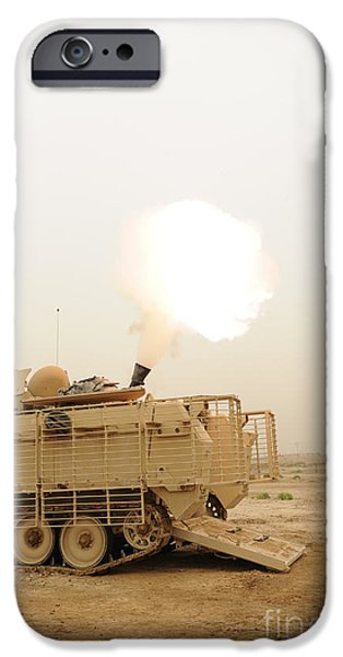Iraq iPhone Cases - A M120 Mortar System Is Fired iPhone Case by Stocktrek Images