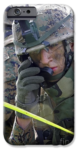 A Marine Communicates Over The Radio iPhone Case by Stocktrek Images