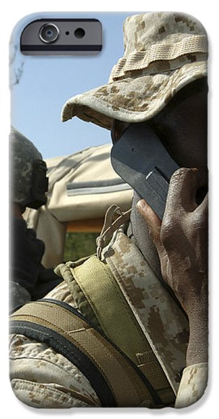 A Marine Communicates With Aircraft iPhone Case by Stocktrek Images