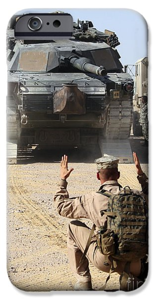 Raised Image iPhone Cases - A Marine Guides An M1-a1 Abrams Main iPhone Case by Stocktrek Images