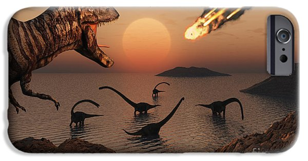 Wildlife Disasters iPhone Cases - A Mighty T. Rex Roars From Overhead iPhone Case by Mark Stevenson