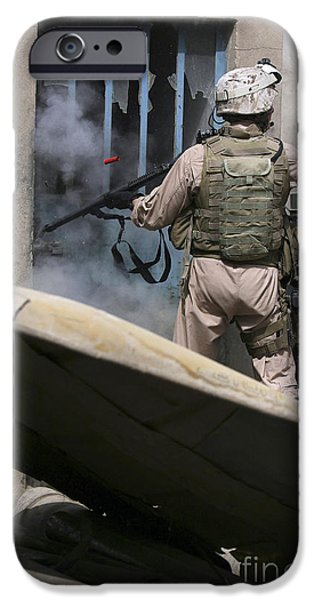 East Village iPhone Cases - A Military Policeman Uses A Breaching iPhone Case by Stocktrek Images