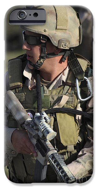 A Military Reserve Navy Seal Kneels iPhone Case by Michael Wood
