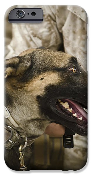 A Military Working Dog Sits At The Feet iPhone Case by Stocktrek Images