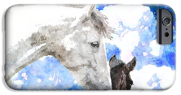Horse iPhone Cases - A Mothers Love iPhone Case by Vicki Podesta