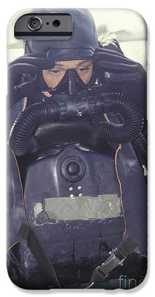 Circuit iPhone Cases - A Navy Seal Combat Swimmer Adjusts iPhone Case by Michael Wood