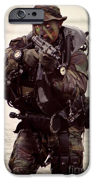A Navy Seal Exits The Water Armed iPhone Case by Michael Wood