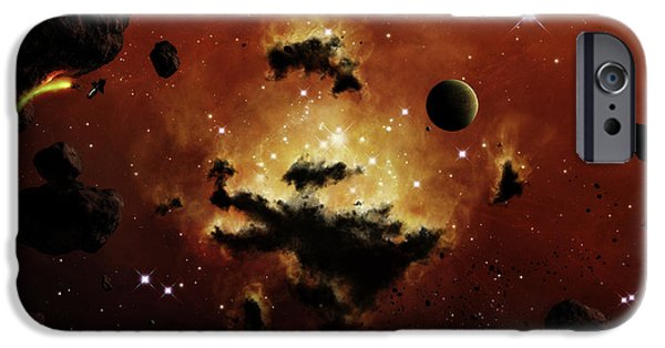 Intergalactic Space iPhone Cases - A Nebula Evaporates In The Far Distance iPhone Case by Brian Christensen