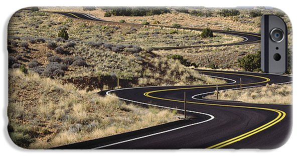 Mountain Road iPhone Cases - A Newly Paved Winding Road Up A Slight iPhone Case by Greg Probst