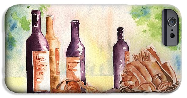 Wine Bottles iPhone Cases - A Nice Bread and Wine Selection iPhone Case by Sharon Mick