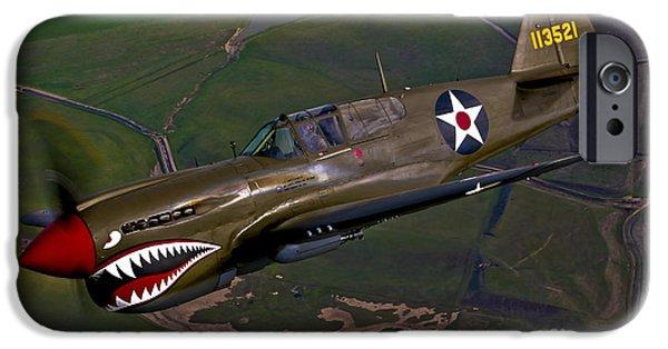 Curtiss iPhone Cases - A P-40e Warhawk In Flight iPhone Case by Scott Germain