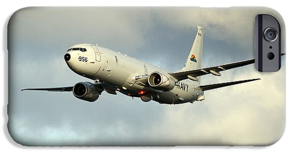 Military Airplanes iPhone Cases - A P-8a Poseidon In Flight iPhone Case by Stocktrek Images