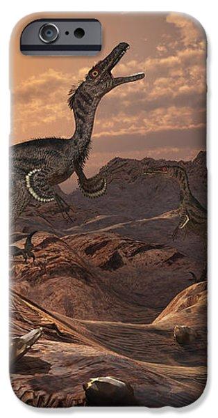 A Pack Of Carnivorous Velociraptors iPhone Case by Mark Stevenson