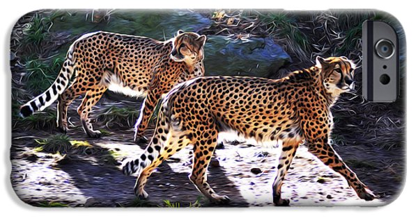 Cheetah Digital Art iPhone Cases - A Pair of Cheetahs iPhone Case by Bill Cannon