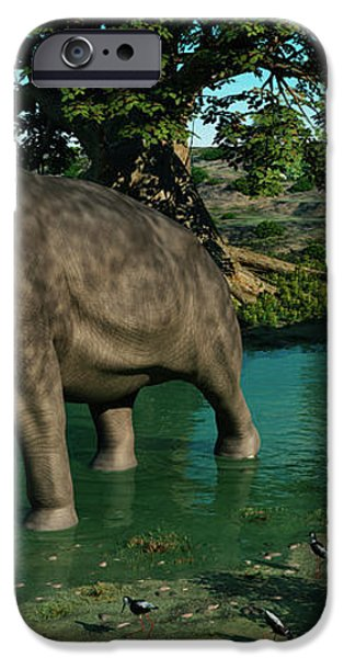 A Pair Of Platybelodon Grazing iPhone Case by Walter Myers