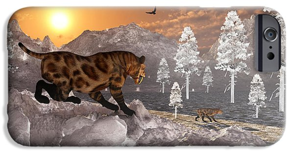 The Tiger iPhone Cases - A Pair Of Sabre Tooth Tigers Experience iPhone Case by Mark Stevenson